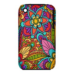 Festive Colorful Ornamental Background Apple iPhone 3G/3GS Hardshell Case (PC+Silicone)