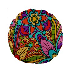 Festive Colorful Ornamental Background Standard 15  Premium Round Cushions
