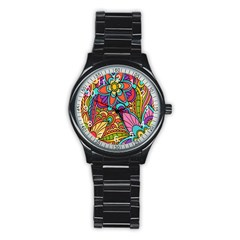 Festive Colorful Ornamental Background Stainless Steel Round Watch