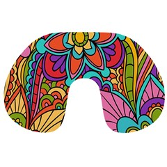 Festive Colorful Ornamental Background Travel Neck Pillows