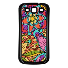 Festive Colorful Ornamental Background Samsung Galaxy S3 Back Case (Black)