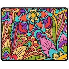Festive Colorful Ornamental Background Double Sided Fleece Blanket (Medium)