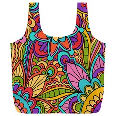 Festive Colorful Ornamental Background Full Print Recycle Bags (L)
