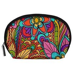 Festive Colorful Ornamental Background Accessory Pouches (Large)