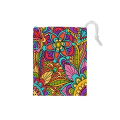 Festive Colorful Ornamental Background Drawstring Pouches (Small)