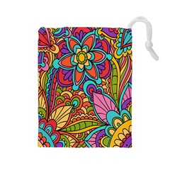 Festive Colorful Ornamental Background Drawstring Pouches (Large)