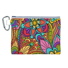 Festive Colorful Ornamental Background Canvas Cosmetic Bag (L)