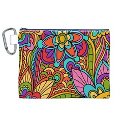 Festive Colorful Ornamental Background Canvas Cosmetic Bag (XL)