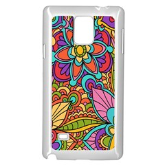 Festive Colorful Ornamental Background Samsung Galaxy Note 4 Case (White)