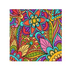 Festive Colorful Ornamental Background Small Satin Scarf (Square)