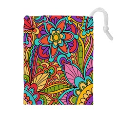 Festive Colorful Ornamental Background Drawstring Pouches (extra Large)