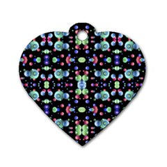 Multicolored Galaxy Pattern Dog Tag Heart (Two Sides)