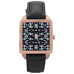 Multicolored Galaxy Pattern Rose Gold Leather Watch
