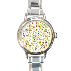 Colorful Fall Leaves Background Round Italian Charm Watch