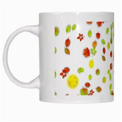Colorful Fall Leaves Background White Mugs