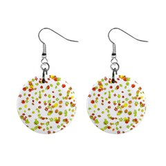 Colorful Fall Leaves Background Mini Button Earrings