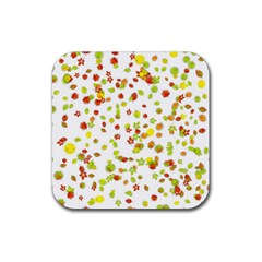 Colorful Fall Leaves Background Rubber Coaster (Square)