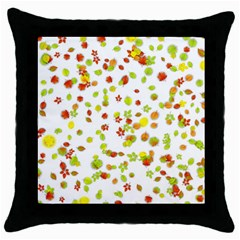 Colorful Fall Leaves Background Throw Pillow Case (Black)