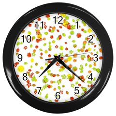 Colorful Fall Leaves Background Wall Clocks (Black)