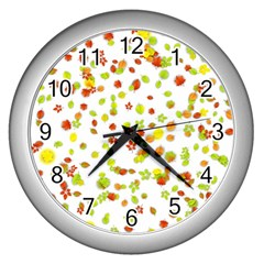 Colorful Fall Leaves Background Wall Clocks (Silver)