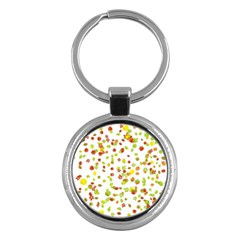 Colorful Fall Leaves Background Key Chains (Round)