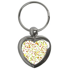 Colorful Fall Leaves Background Key Chains (Heart)