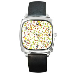 Colorful Fall Leaves Background Square Metal Watch