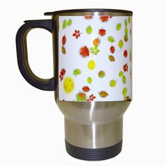 Colorful Fall Leaves Background Travel Mugs (White)