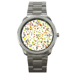 Colorful Fall Leaves Background Sport Metal Watch