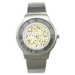 Colorful Fall Leaves Background Stainless Steel Watch