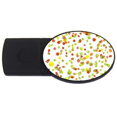 Colorful Fall Leaves Background USB Flash Drive Oval (4 GB)