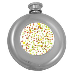 Colorful Fall Leaves Background Round Hip Flask (5 oz)