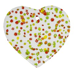 Colorful Fall Leaves Background Heart Ornament (2 Sides)