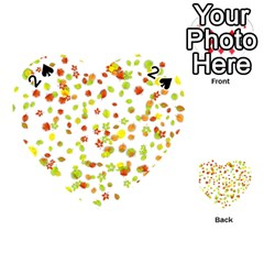 Colorful Fall Leaves Background Playing Cards 54 (Heart)