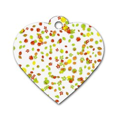 Colorful Fall Leaves Background Dog Tag Heart (Two Sides)