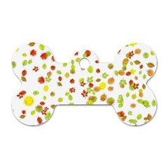 Colorful Fall Leaves Background Dog Tag Bone (Two Sides)