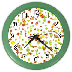 Colorful Fall Leaves Background Color Wall Clocks