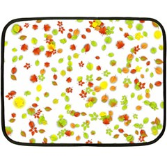 Colorful Fall Leaves Background Double Sided Fleece Blanket (Mini)