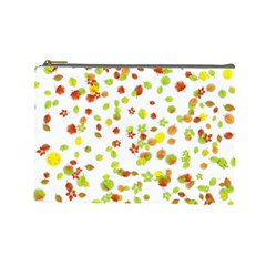 Colorful Fall Leaves Background Cosmetic Bag (Large)