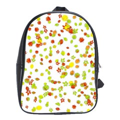 Colorful Fall Leaves Background School Bags(Large)