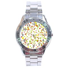 Colorful Fall Leaves Background Stainless Steel Analogue Watch