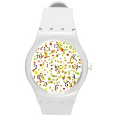 Colorful Fall Leaves Background Round Plastic Sport Watch (M)