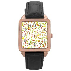 Colorful Fall Leaves Background Rose Gold Leather Watch