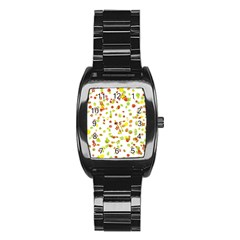 Colorful Fall Leaves Background Stainless Steel Barrel Watch