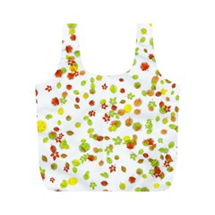 Colorful Fall Leaves Background Full Print Recycle Bags (M)