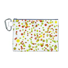 Colorful Fall Leaves Background Canvas Cosmetic Bag (M)