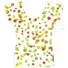 Colorful Fall Leaves Background Women s V-Neck Cap Sleeve Top