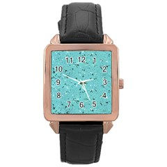 Abstract Cracked Texture Rose Gold Leather Watch