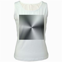 Shiny Metallic Silver Women s White Tank Top