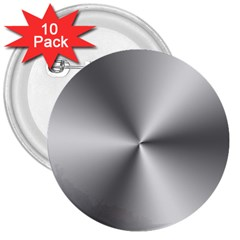 Shiny Metallic Silver 3  Buttons (10 pack)